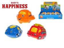 Mikro Trading Dopravní prostředek 7cm klouzající a plavací Baby´s Happiness asst 3 druhy 12ks