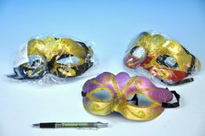 Maska škraboška plast 17cm asst 3 barvy v sáčku karneval
