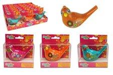 Teddies Píšťalka vodní ptáček se šňůrkou plast 10cm asst 4 barvy v krabičce