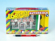 LORI Stavebnice LORI 11 Autoškola Dopravní značky 16ks+2 kužely+auto plast v krabici