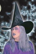 Čarodějnický klobouk s šedivými vlasy